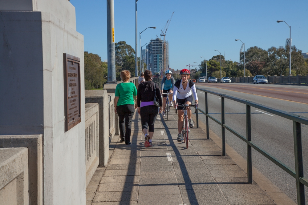 Bikes and walkers Causeway Perth